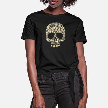 Skull Flower - Women's Knotted T-Shirt
