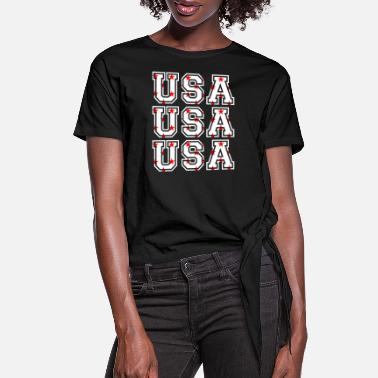 Usa USA USA USA - Women's Knotted T-Shirt