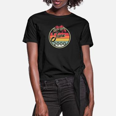 Since Vintage 80s June 2000 20th Birthday Gift Idea - Women's Knotted T-Shirt