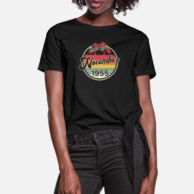 Established Vintage 65th Birthday November 1955 Sports Gift - Women's Knotted T-Shirt