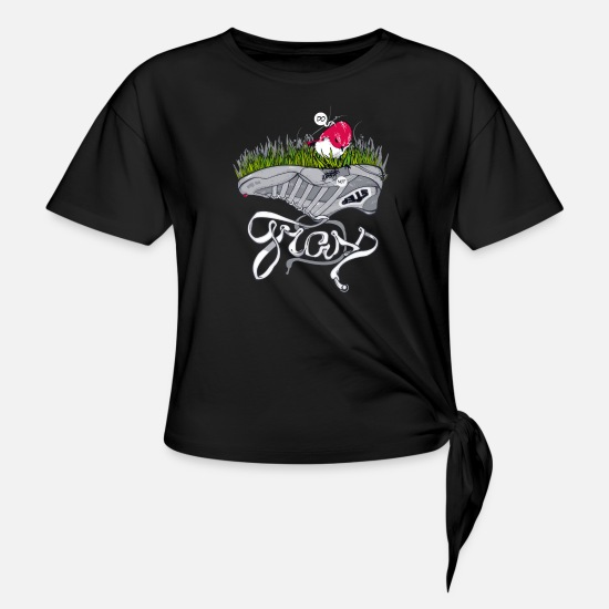 The Office T-Shirts - Don t step on the grass - Women's Knotted T-Shirt black