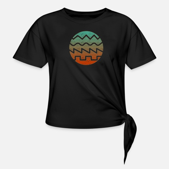 Synthesizer T-Shirts - Synthesizer Waveform - Women's Knotted T-Shirt black