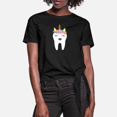 Tooth Unicorn Tooth Dentist Tooth Fairy Gift First Tooth - Women's Knotted T-Shirt