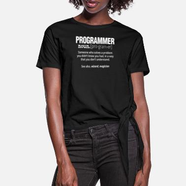 Computer Science Funny Programmer T-Shirt - Code Works Why - Women's Knotted T-Shirt