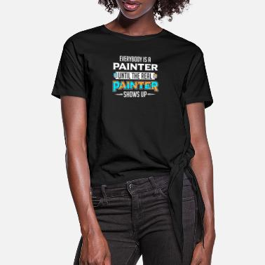Paint Brush Painter Artist Brush Paint Can Painting - Women's Knotted T-Shirt