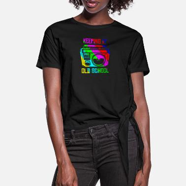Regge Keeping It Old School 80s 90s Boombox T Shirt Retr - Women's Knotted T-Shirt