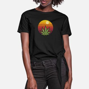 Leaf Vintage Marijuana Weed Cannabis Leaf Retro - Women's Knotted T-Shirt
