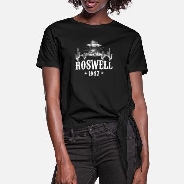 Saucer Roswell Flying Saucer 1947, Storm Area 51, UFO - Women's Knotted T-Shirt