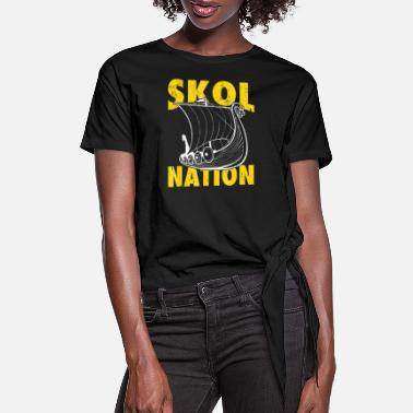 Viking Skol Nation Distressed Viking Ship Shirt - Women's Knotted T-Shirt