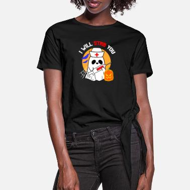 Illustration I Will Stab You - Women's Knotted T-Shirt