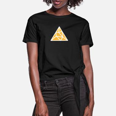 Triangle White Yellow Splitted Triangle - Women's Knotted T-Shirt