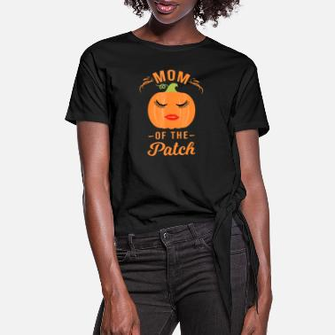 Mom of The Patch Pumpkin Halloween T Shirt - Women's Knotted T-Shirt