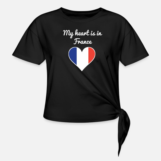 French Flag T-Shirts - My Heart Is In France - Women's Knotted T-Shirt black