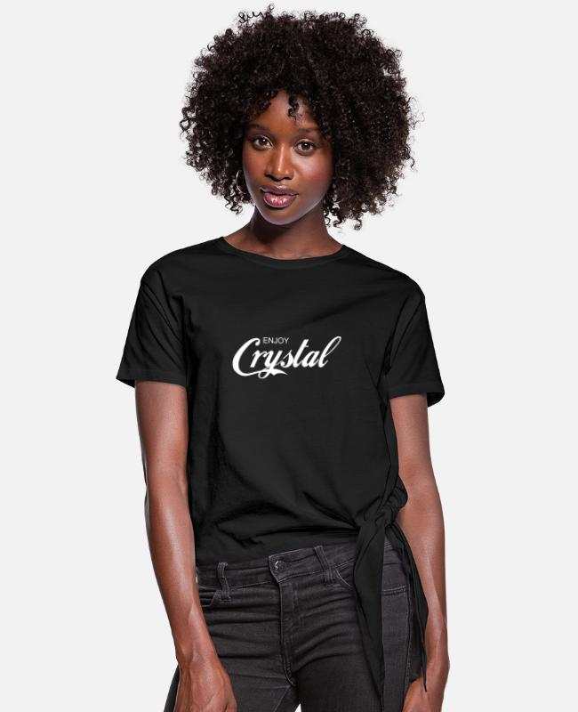 Better Call Saul T-Shirts - enjoy CRYSTAL - Women's Knotted T-Shirt black