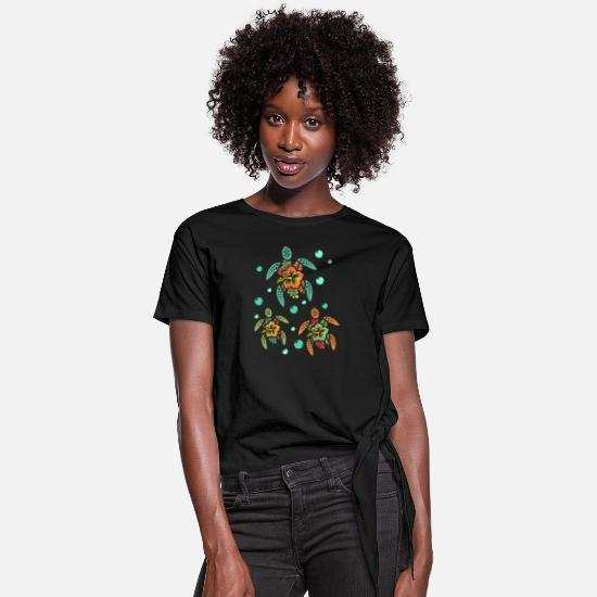 Turtle T-Shirts - Tropical Hawaiian Sea Turtles - Women's Knotted T-Shirt black