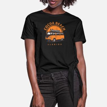 Cocoa Cocoa Beach Florida Surf Van - Women's Knotted T-Shirt