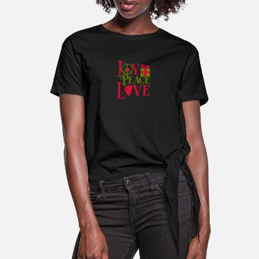Joy Joy Peace Love - Women's Knotted T-Shirt