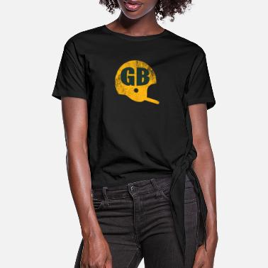 Green Green Bay Football Helmet Vintage - Women's Knotted T-Shirt