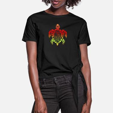 Tribal Samoan Turtle Polynesian Tribal Tattoo Gift Idea - Women's Knotted T-Shirt