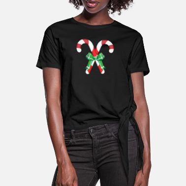 Candy Candy-Canes - Women's Knotted T-Shirt