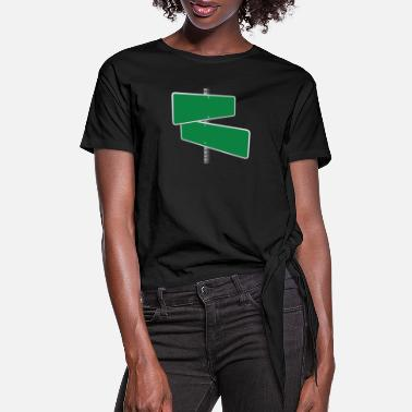 Traffic Sign green road sign - Women's Knotted T-Shirt