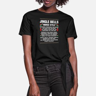 Ugly Jingle Bells Nurse Style - Women's Knotted T-Shirt