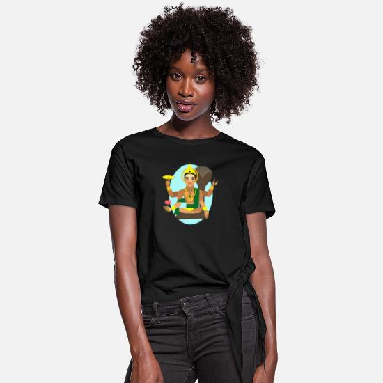 Shiva T-Shirts - Lord Shiva - Women's Knotted T-Shirt black