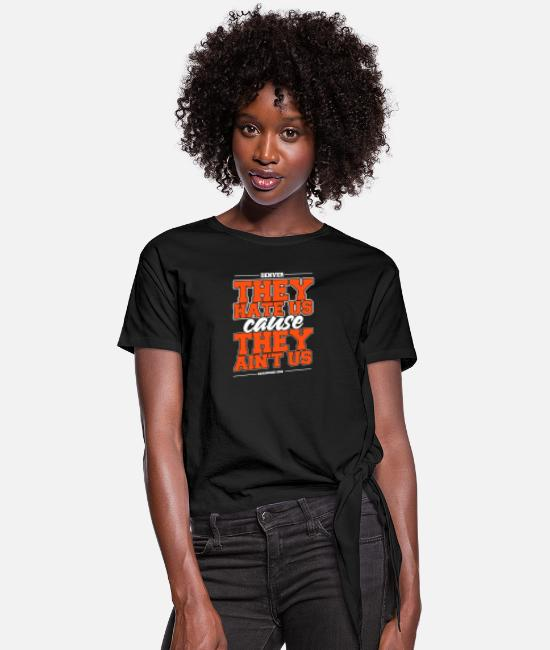 Denver Skyline T-Shirts - Denver - Denver - denver the hate us cause they - Women's Knotted T-Shirt black