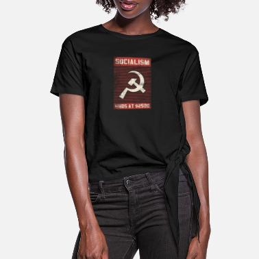 Wing socialism ends at 2500 dollar left wing gift - Women's Knotted T-Shirt