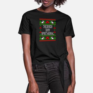 Spirit The Grinch Is My Spirit Animal - Women's Knotted T-Shirt