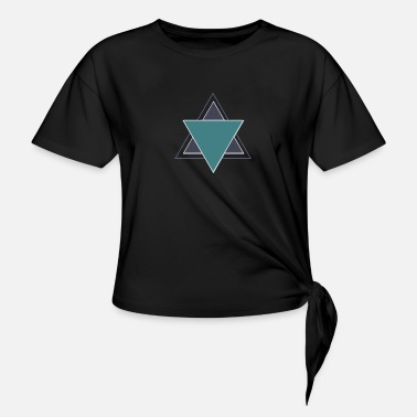 Blue Triangles - Women's Knotted T-Shirt