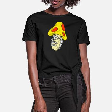 Mushroom And Hand Skull - Women's Knotted T-Shirt