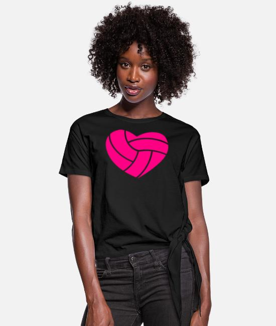 Volley T-Shirts - Volleyball in Shape of Heart - Women's Knotted T-Shirt black