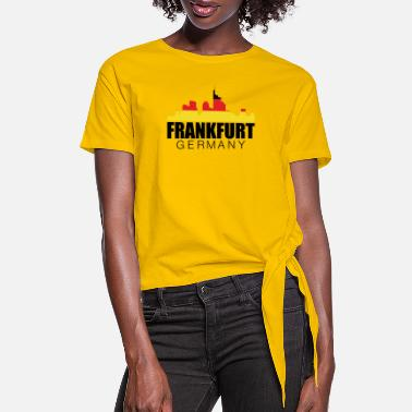 Frankfurt Skyline Frankfurt Germany Flag - Women's Knotted T-Shirt