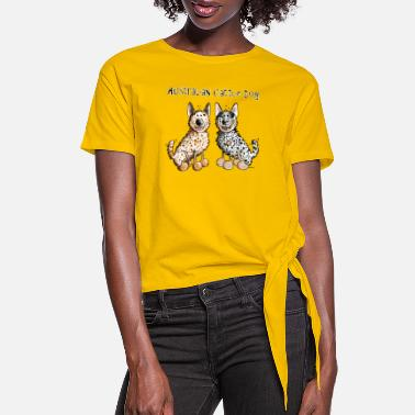 Australian Cattle Dogs Cartoon Two funny Australian Cattle Dogs - Dog - Women's Knotted T-Shirt