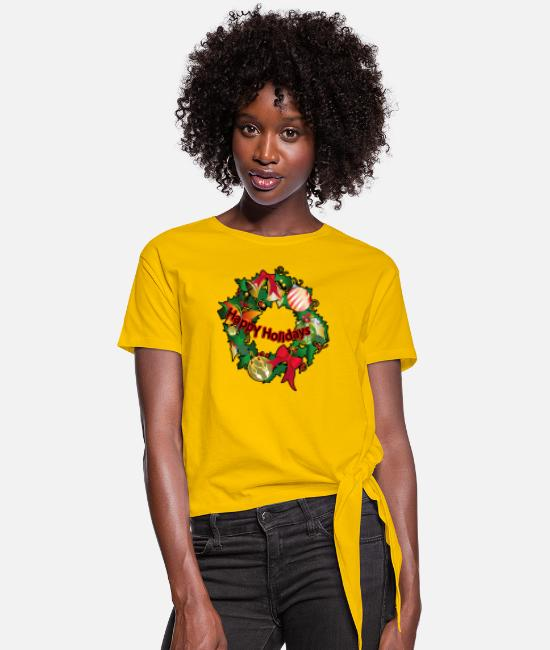 Happy Holidays T-Shirts - Happy Holidays - Women's Knotted T-Shirt sun yellow