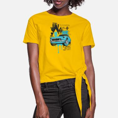 Fastandfurious vintage car design - for t shirt - Women's Knotted T-Shirt