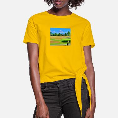Teeing Off tee-off to Mt Rainier - Women's Knotted T-Shirt