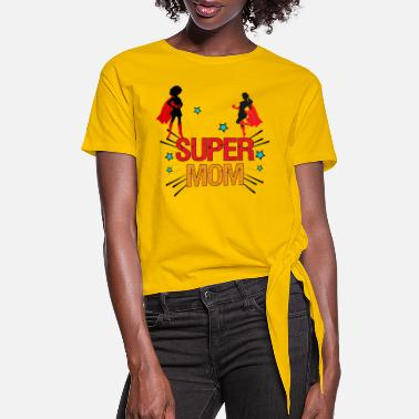 SUPER MOM Comic Book Themed Typography - Women's Knotted T-Shirt