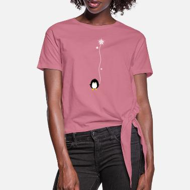 Snowflake Penguin with snowflake - Women's Knotted T-Shirt