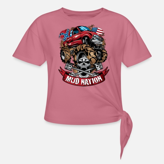 Mud T-Shirts - Mud Truck Cartoon Nation - Women's Knotted T-Shirt mauve