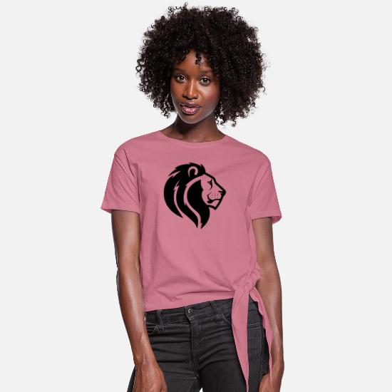Wild T-Shirts - Lion - Women's Knotted T-Shirt mauve