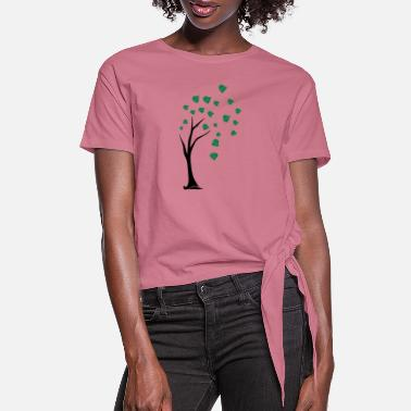 Acorn tree in storm - Women's Knotted T-Shirt