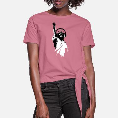 Dj Lady Liberty with DJ Headphone Vector - Women's Knotted T-Shirt