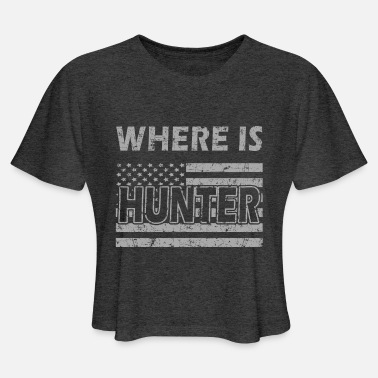 Where Is Hunter - Trump with American Flag Vintage - Women's Cropped T-Shirt