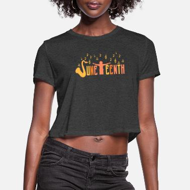 Afro Juneteenth Celebrate Black African American Flag - Women's Cropped T-Shirt