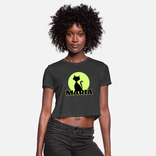 Birthday T-Shirts - Maria first name - Women's Cropped T-Shirt deep heather