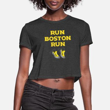 Boston Marathon Run Boston Run Running Marathon - Women's Cropped T-Shirt