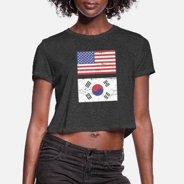 South United States Flag & South Korea Flag - Women's Cropped T-Shirt