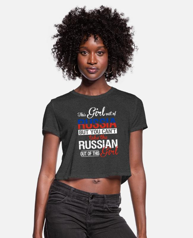Russian T-Shirts - Russia - You can't take the russian out of her - Women's Cropped T-Shirt deep heather
